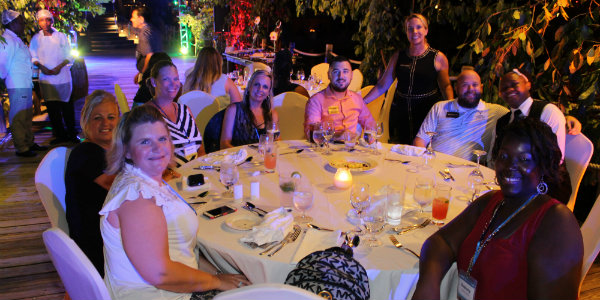 Agents meeting and mingling at the beautiful welcome reception at Sandals Ochi.