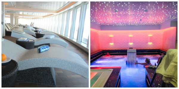 The heated tile loungers & Vitality Pool make for a very relaxing day at sea!