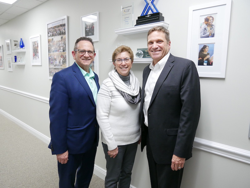 Rick Zimmerman and Geoff Cox with Travel Agents Alliance Group Co-Founder Elly Sterlacci