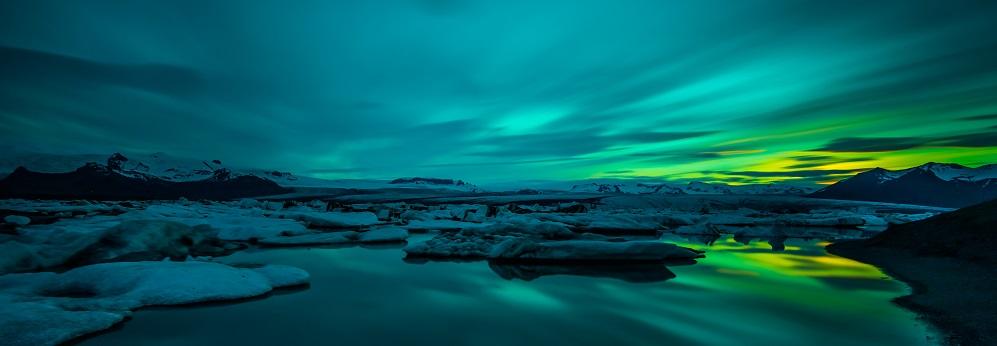 Jökulsárlón Bucht Mit Eisbergen Gletscher Iceland Northern Lights Travel Wonders of the World