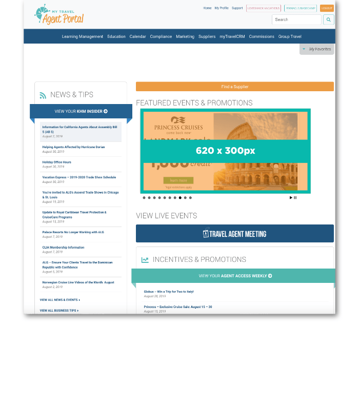 Home page of KHM Travel Group's Agent Portal. Advertisement is displayed at the top-center location.Home page of KHM Travel Group's Agent Portal. Advertisement is displayed at the top-center location.