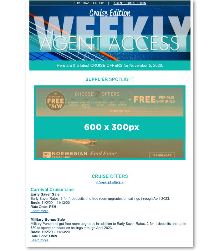 An example of the Cruise Edition of Agent Access Weekly. The box is around the Spotlight Ad while individual sale listings are below.  Listings are in alphabetical order.