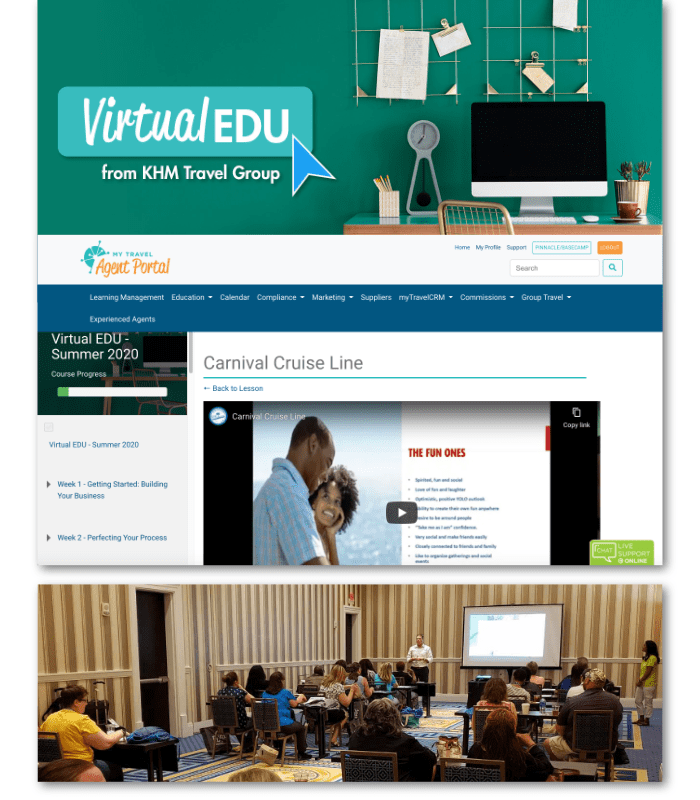 Above: 2020 VirtualEDU displayed in our Learning Management System Below: Scene from one of our live events from 2019.
